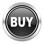 buy icon, black chrome button