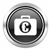 financial icon, black chrome button