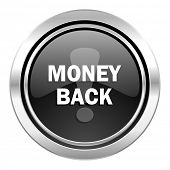 money back icon, black chrome button
