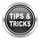tips tricks icon, black chrome button