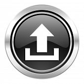 upload icon, black chrome button