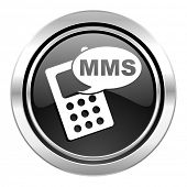 mms icon, black chrome button, phone sign