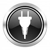 plug icon, black chrome button, electric plug sign