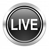 live icon, black chrome button
