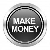 make money icon, black chrome button