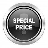 special price icon, black chrome button