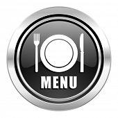 menu icon, black chrome button, restaurant sign