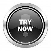 try now icon, black chrome button