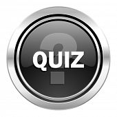 quiz icon, black chrome button