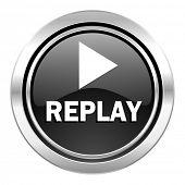 replay icon, black chrome button