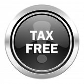 tax free icon, black chrome button