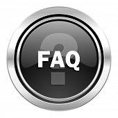 faq icon, black chrome button
