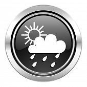 rain icon, black chrome button, waether forecast sign  poster