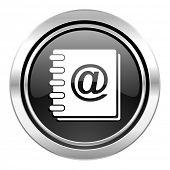 address book icon, black chrome button