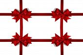 Decorative red satin bow frame isolated on white background