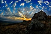 landscape at sunset/sunrise -  Dobrogea, Romania