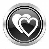 love icon, black chrome button, valentine sign, hearts symbol
