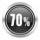 70 percent icon, black chrome button, sale sign