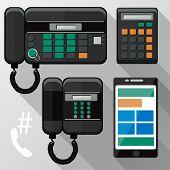 Cellphones, landline phone and smartphone