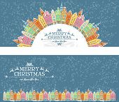 Christmas cards with snowy old town