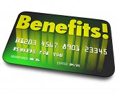 foto of loyalty  - Benefits word on a green credit card to illustrate shopper loyalty points earned by using the card in a rewards program to encourage more purchases or buying - JPG