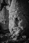 Nemrut mount, Turkey - Ancient stone heads representing the gods of the Kommagene kingdom - Black and White toned
