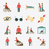 foto of disabled person  - Disabled people care help assistance and accessibility flat icons set isolated vector illustration - JPG