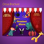 picture of circus clown  - Circus performance show brochure with athlete clown elephant vector illustration - JPG