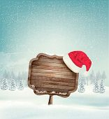 Winter christmas landscape with a wooden ornate sign and a santa hat background. Vector.