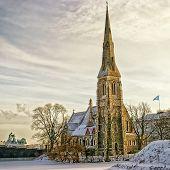 Old Church In Denmark In Winter