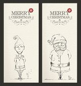 stock photo of elf  - Merry Christmas unusual hand drawn banner set - JPG
