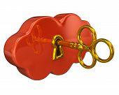 Golden key in orange cloud keyhole