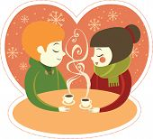 Young couple enjoing coffee together