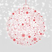 Xmas Discount Poster With Gradient Mesh, Vector Illustration