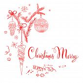 Merry Christmas design. Vector holiday sketch with place for text.