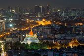 Aerial View Of Bangkok City With Temple In Night ,thailand