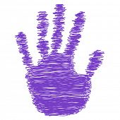 Conceptual violet or purple painted drawing hand shape print or scribble isolated on white paper background