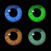 Human eyes macro collage on black background