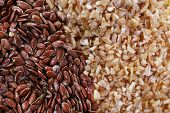 Wheat and flax seeds as background