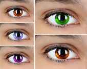 Colorful eyes collage close-up