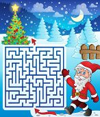 Maze 3 with walking Santa Claus - eps10 vector illustration.