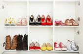 Collection of shoes on shelves