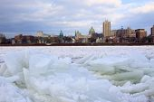 Ice Jam On River