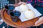 Daifuku of dessert Japanese and hot tea ,  Kyoto.