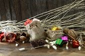 Christmas And New Year Decoration On Wooden Background