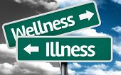 Wellness x Illness creative sign with clouds as the background
