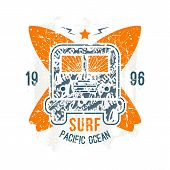 Surfing Bus Emblem In Retro Style