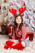 Cute Little Girl At Christmas