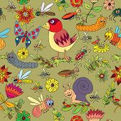 Seamless pattern. Plants, insects
