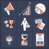 Office and business icons in gray buttons version